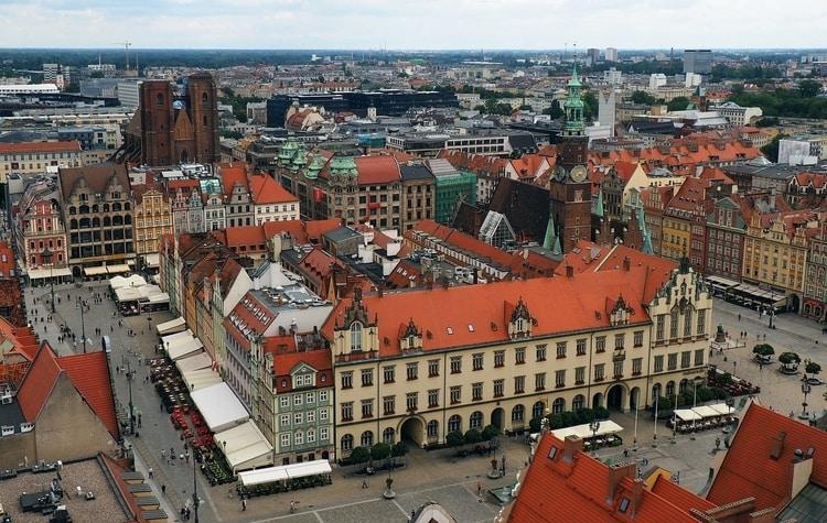 Stadshuis en markt in Wroclaw