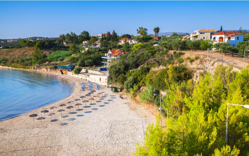 Bovenaanzicht van Bouka Beach in Tsilivi