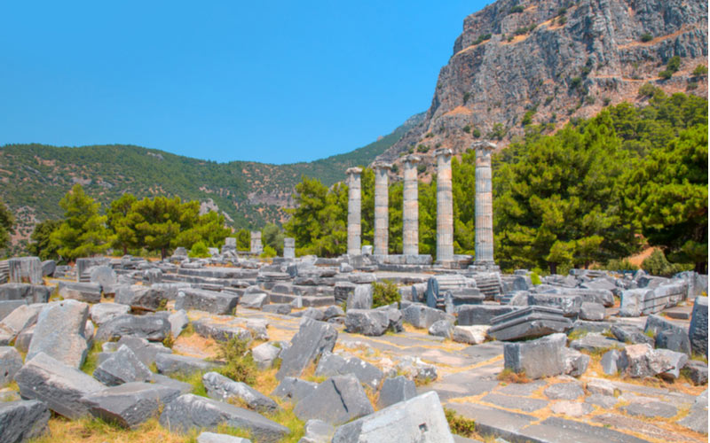 Historische stad Priene buiten Didim