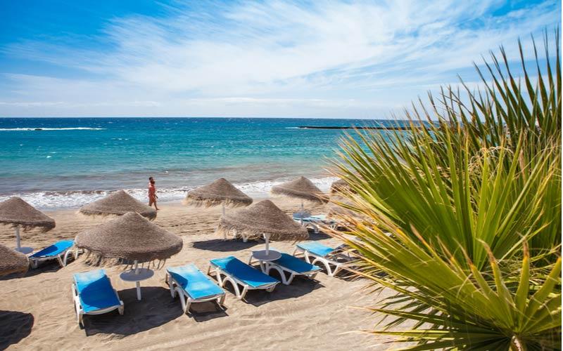 Strand en ligbedden Las Américas