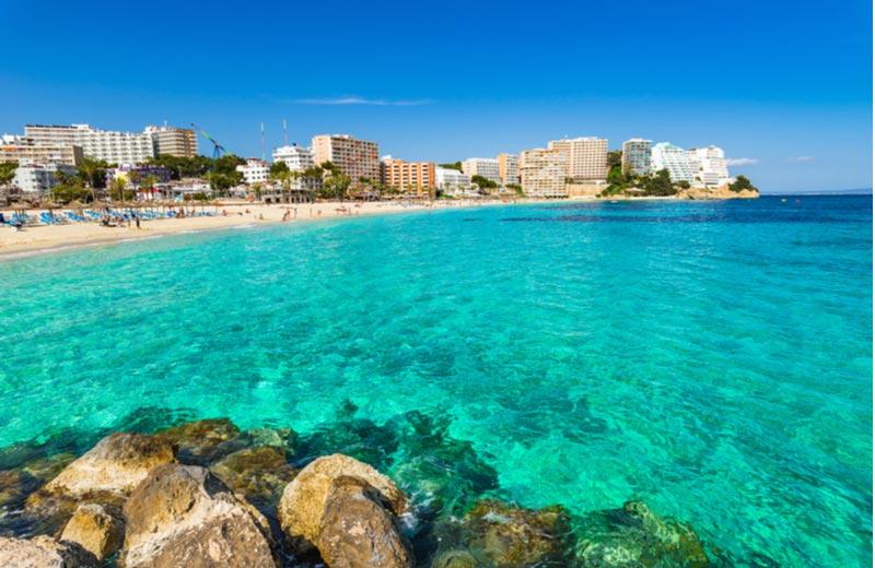 Het strand Magaluf beach op Mallorca