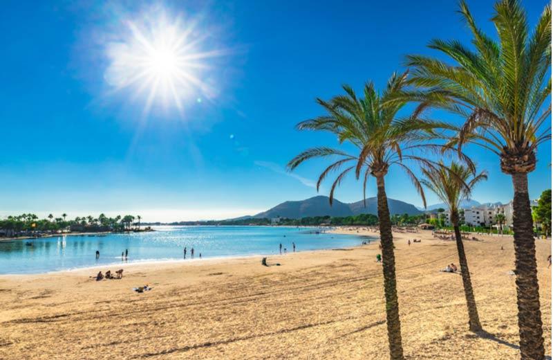 Strand van Alcudia op Mallorca