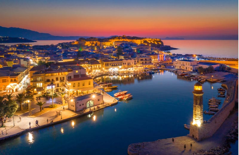 Rethymnon 's avonds op Kreta