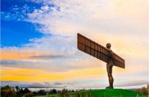 Het beeld Angel of the North in Newcastle