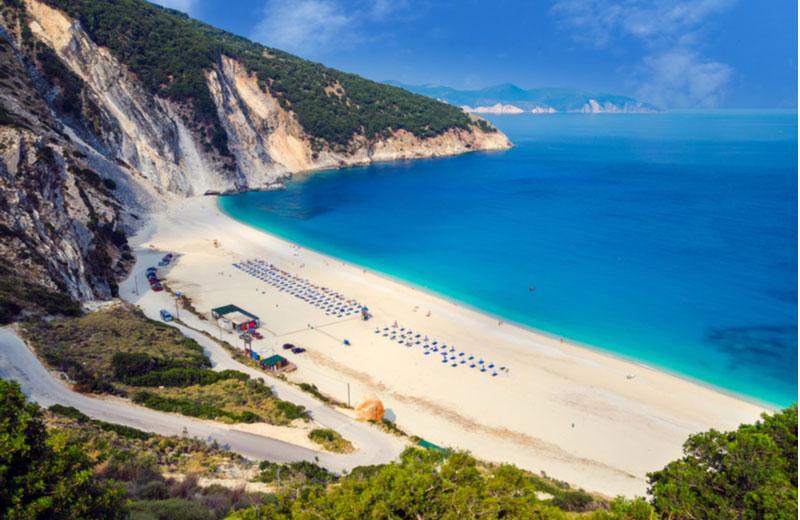 Myrtos beach op Kefalonia
