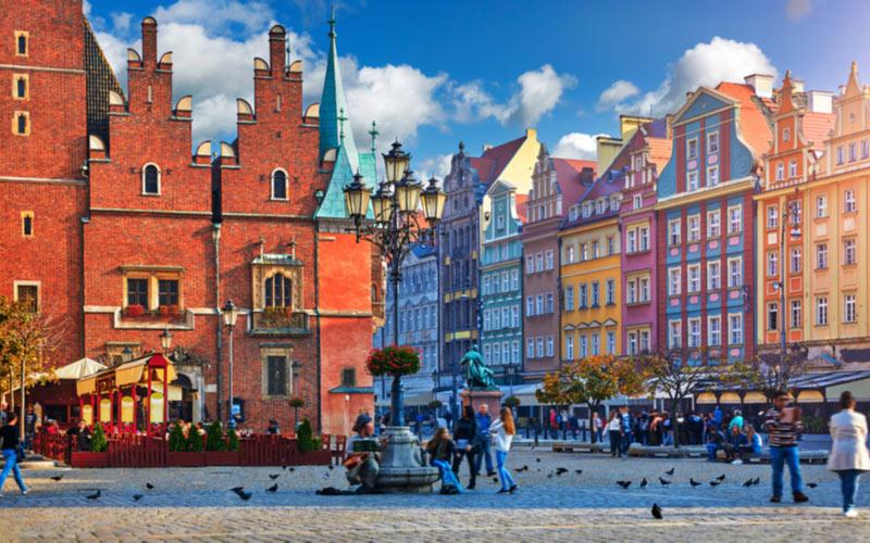 Historische centrum en het marktplein in Wroclaw Polen