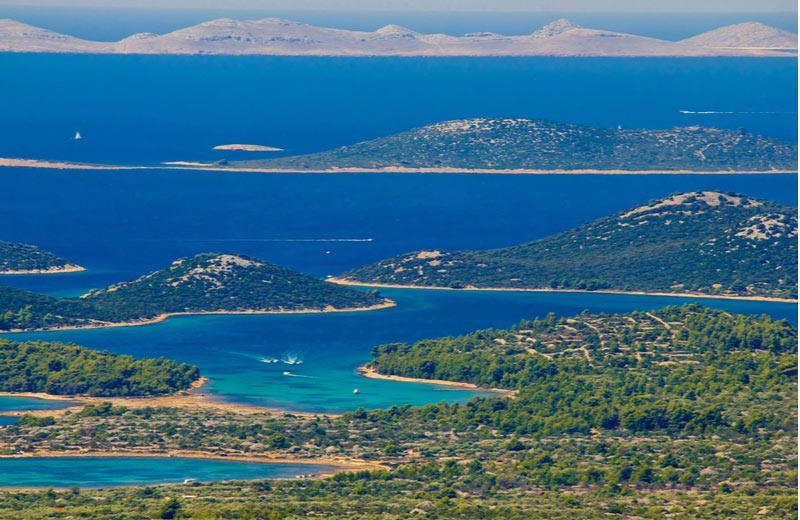 Kornati eilanden voor de kust van Zadar in Kroatië