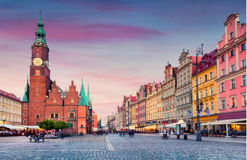 Sfeervolle marktplein in het centrum van Wroclaw