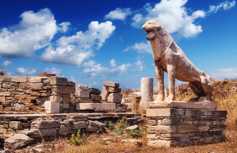 Het leeuwenterras van marmeren leeuwen op Delos