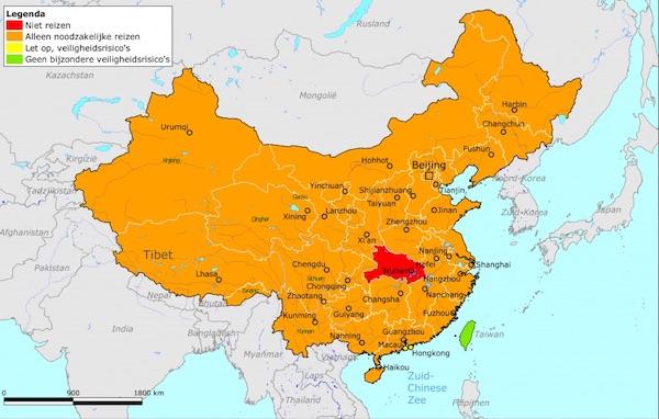 Kaart met gebieden China voor reisadvies tijdens coronavirus