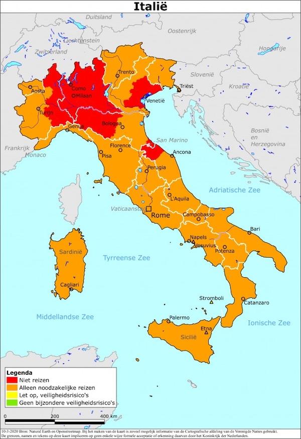 Reisadvies Italië - kaart gebieden coronavirus