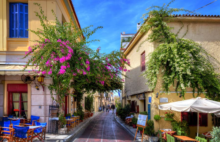 De wijk Plaka in Athene