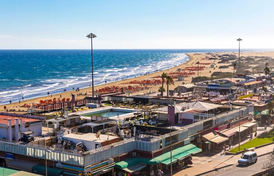 Uitzicht over het strand Playa Maspalomas